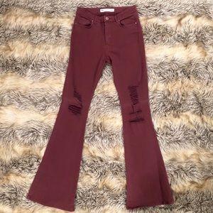 Wide leg high waisted maroon pants bnwot
